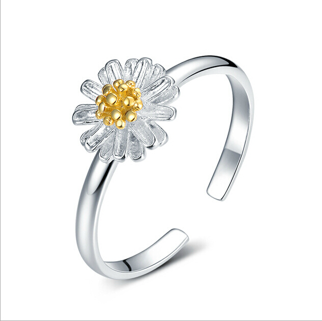 925 sterling silver daisy rings chrysanthemum rings for women valentine's day spiral smooth for women jewelry Gold plated buds(China (Mainland))