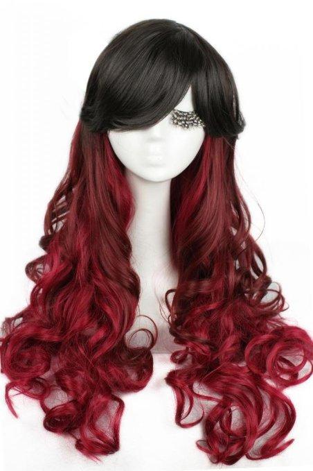 Gothic Lolita longo 27.6 polegada preto mistura vinho tinto Omber onda Cosplay peruca de cabelo(China (Mainland))