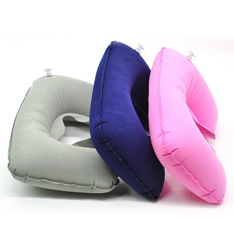 Hot Sale Inflatable U Shaped Pillow Portable Folding Portable Folding Inflatable U Shape Air neck Pillow Travel Airplane Rest(China (Mainland))