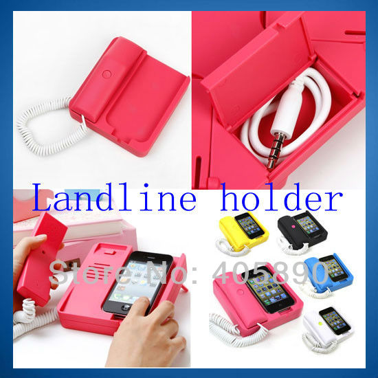 3pcs/lot Telephone Landline Handset with Holder for iPhone 4 4S Retro Mobile Phone Receiver(China (Mainland))