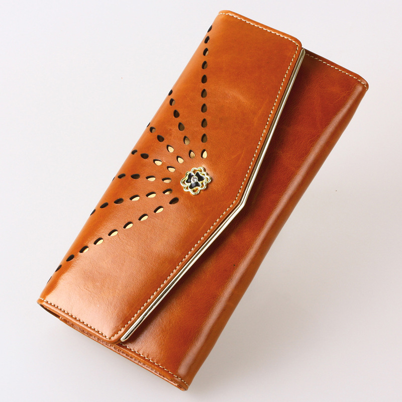 Cowhide Leather Wallet, Korean Version of The New Female Hollow Carved Envelope Wallet, Two Fold Portefeuille Femme Cuir<br><br>Aliexpress