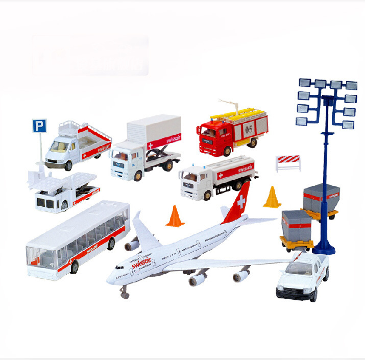 Alloy Diecast Educational set model 1:60 truck+plane+bus Engineering vehicle scale collection gift toys(China (Mainland))