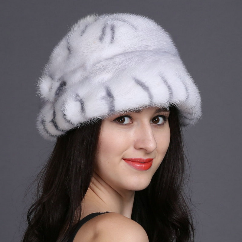 Фотография Hot sale real mink fur hat for women winter keep warm whole mink cap 2016 brand new thick female headgear women