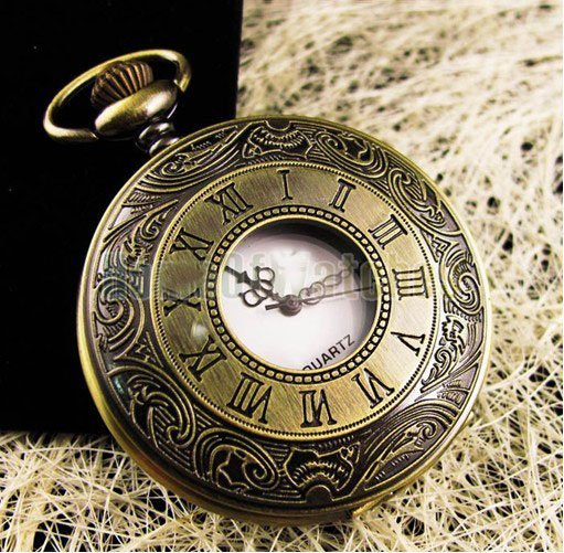 (DH001) 12 pcs/lot Victorian Style Vintage Bronze Roman Numerals watch necklaces Dia 4.5cm, Free shipping
