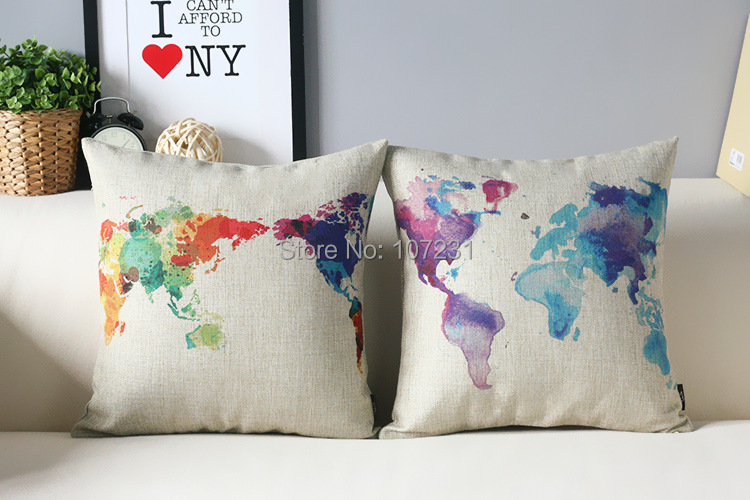 "Vintage Design 18"" 45x45CM Colorful World Map patterned Cushion Linen Pillow Case Home Decor Cushion Cover 2pcs/lot(China (Mainland))"