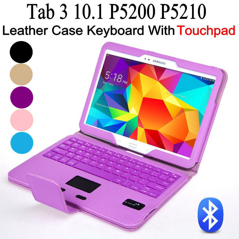 For Samsung Galaxy Tab 3 10.1 P5200 P5210 Removeable Touchpad Bluetooth Keyboard + PU Leather Case Stand Cover+Screen Protector(China (Mainland))
