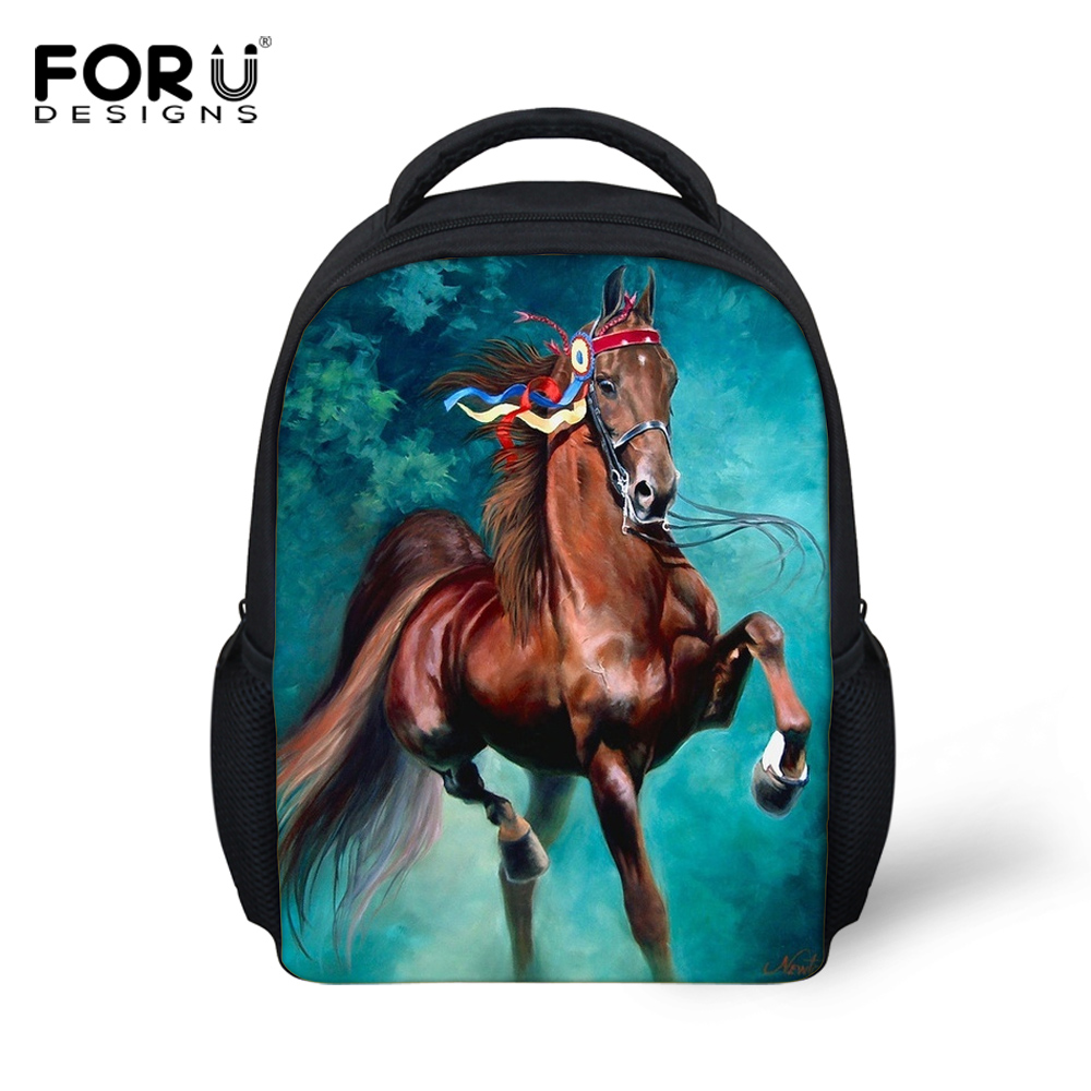 Small Children's Backpacks 3D Animals Printing Backpack for Boys Crazy Horse Back Pack Kids School Bags Baby Kindergarten Bag(China (Mainland))