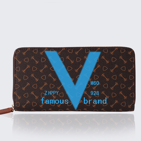 Famous brand 2015 new spring and summer Use V Decorated Monogram canvas Zippy wallet genuine leather M60928 M60936 M60017(China (Mainland))