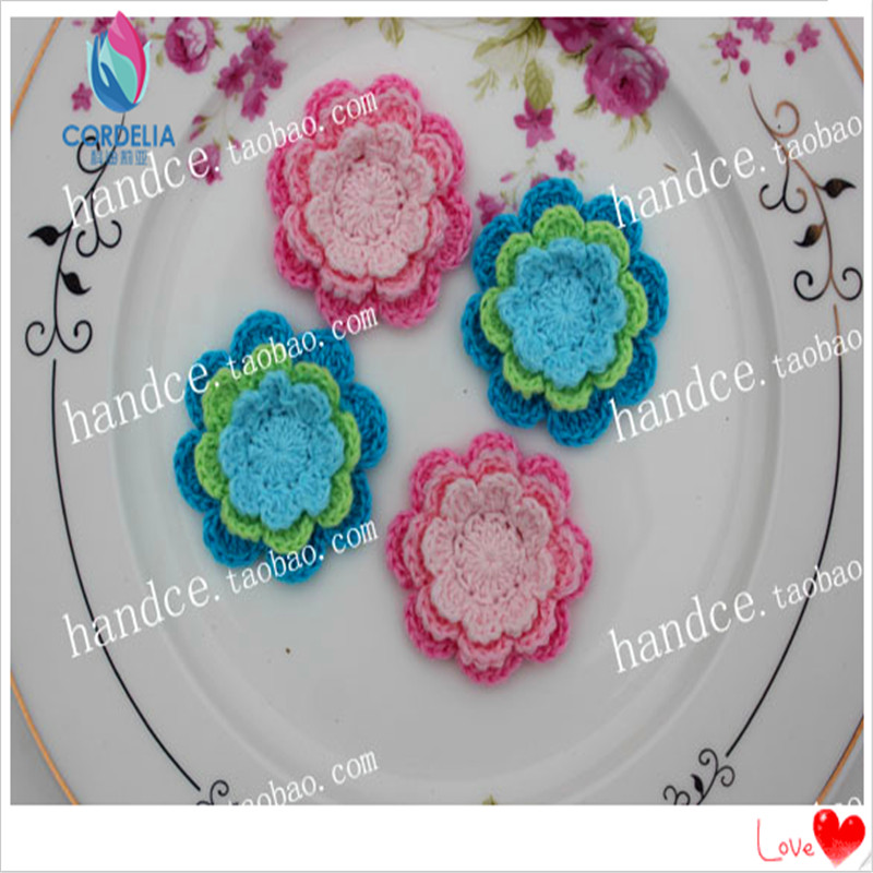 """10 pcs 1.8"""" zakka fashion 100% cotton knitted handmade rose flower applique for garment as clothing accessories from china felt(China (Mainland))"""