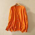 Women s 100 pure cashmere knitted single breasted cardigan sweater with V neck solid color long