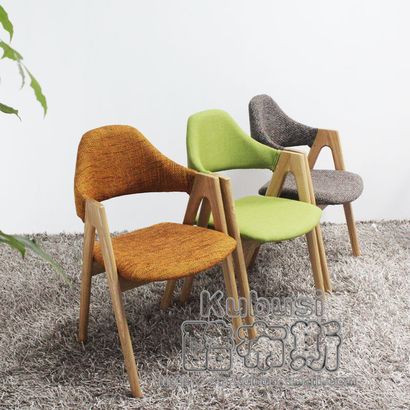 Cool Booth soft cloth bag chair wooden chair Scandinavian elegant upscale restaurant matching chair Ash chair(China (Mainland))