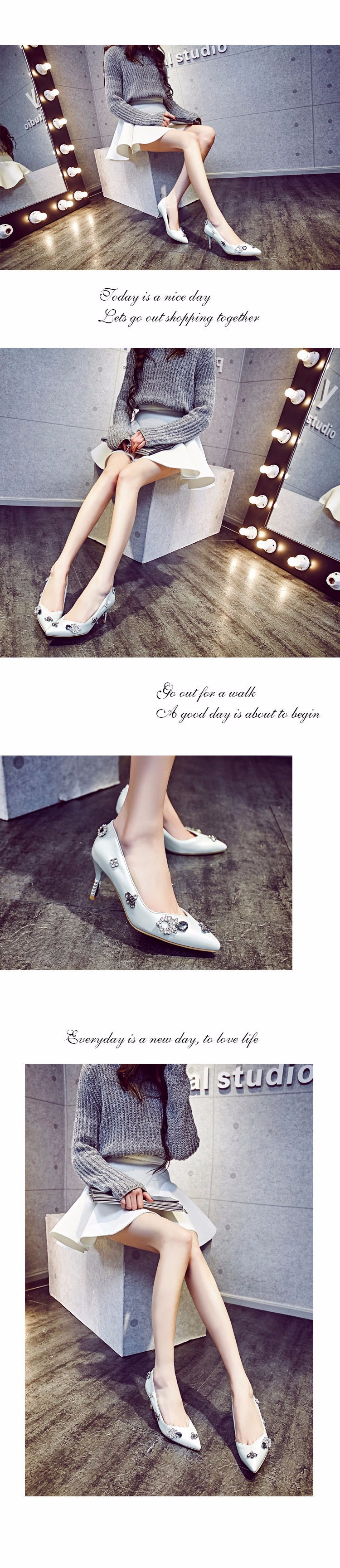 Newest Pointed Toe Rhinestone Style 2016 Spring Sexy Thin High-heeled Pumps High Quality Pink Blue Pumps Size 34-43 ZX 1.5