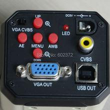 Envío libre! 2.0MP HD cámara microscopio Digital del USB VGA AV salida de vídeo para la industria PCB laboratorio