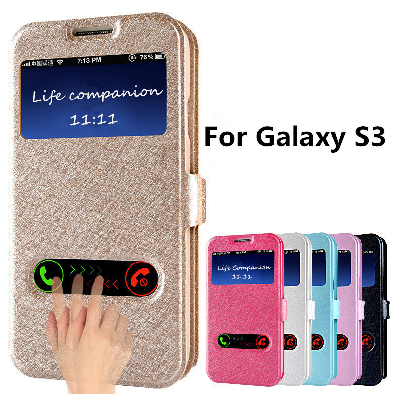Fashion S3 Silk Pattern Flip Cover Case For Samsung Galaxy S3 i9300 PU Leather Phone Bags Cases With Window View Design Hot Sale(China (Mainland))