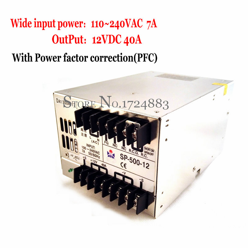 Фотография FreeShipping wide input power supply 100~240VAC 7A OutPut 12VDC 40A Switching Power Supply With power factor correction(PFC)