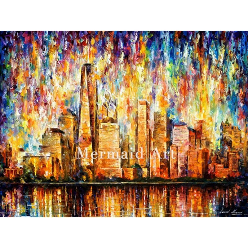 Buy Hand Painted Fall Rain Alley Landscape Abstract Palette Knife Modern Oil Painting Canvas Wall Living Room Artwork Fine Art cheap