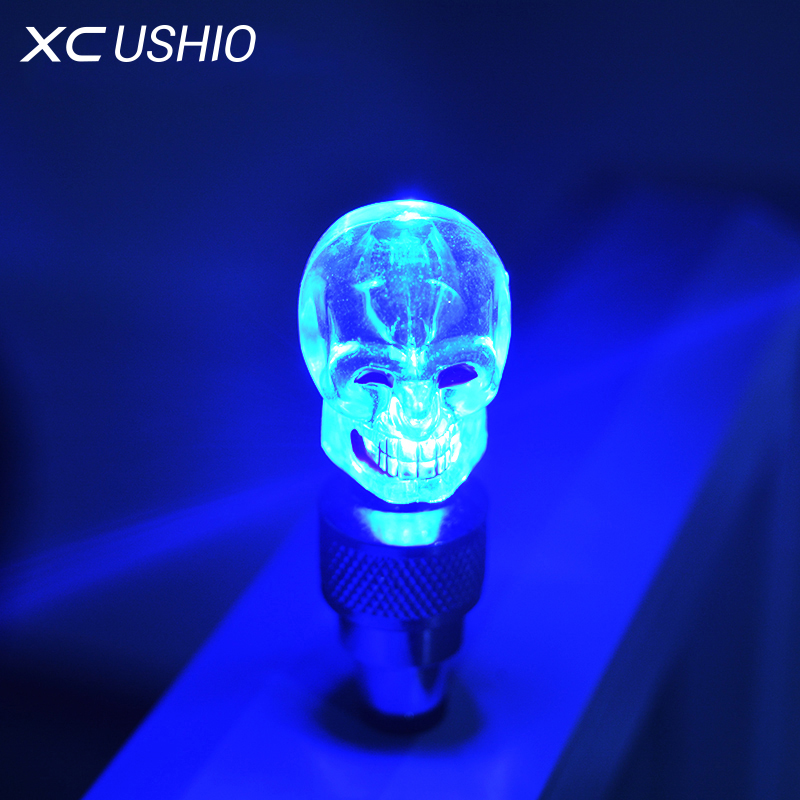 1XPiece Bicycle Tyre Valve Caps Light Led Flash Bike Light Hot Wheel Multicolour Safety Skull Wheel Tyre Lamp Bicycle OnSale
