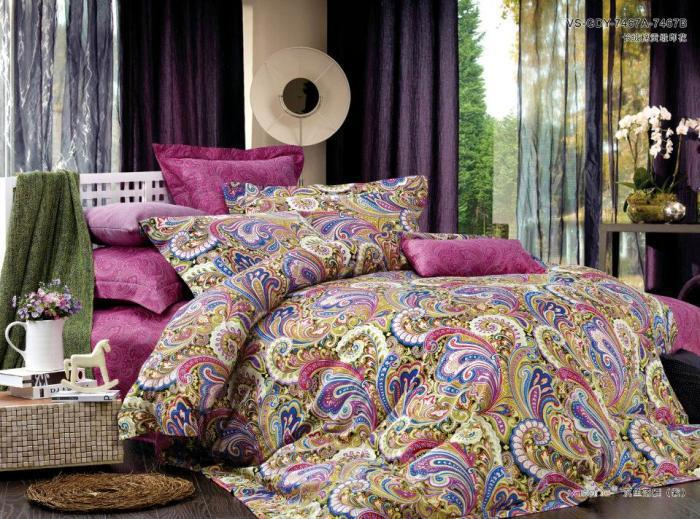 Egyptian cotton pink paisley satin luxury bedding for Housse de couette sears