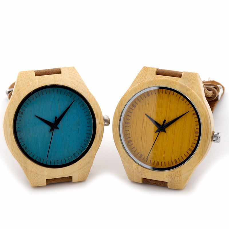 Lovers Blue Or Yellow Dial Japanese Movement 2035 Wristwatches Genuine Leather Bamboo Wooden Watches For Men And Women(China (Mainland))
