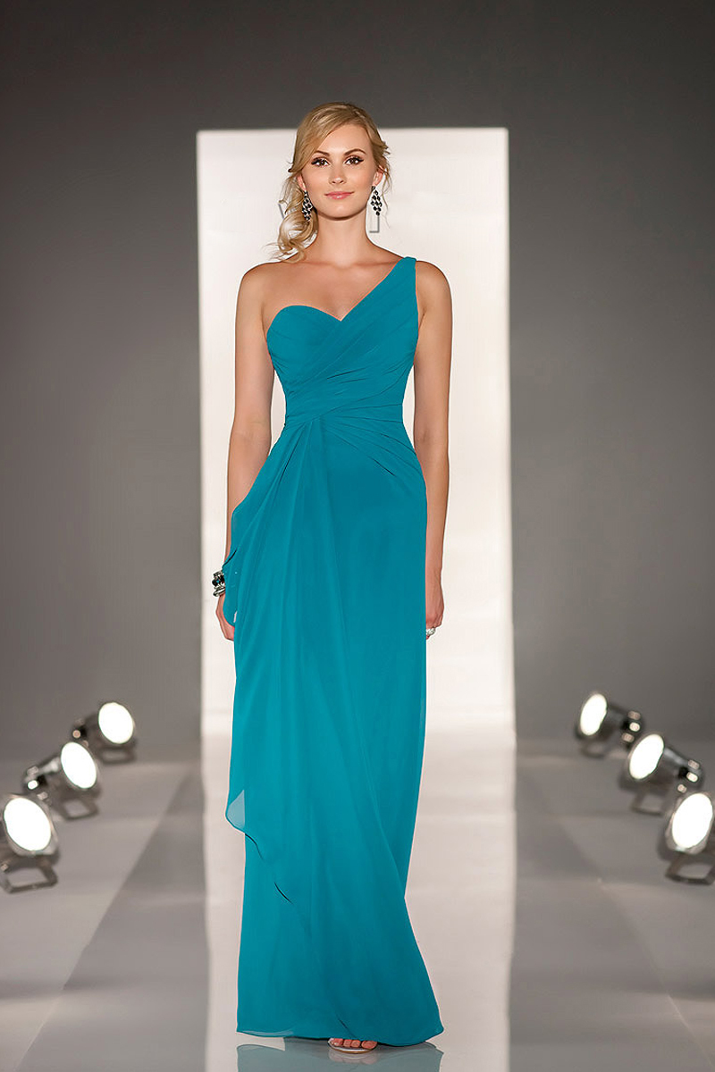 Cheap one shoulder floor length a line chiffon teal for Teal dress for wedding