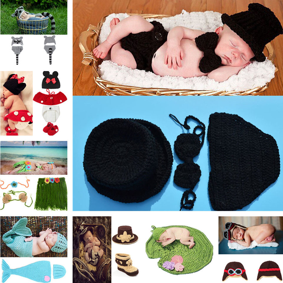 Latest Black Color Baby Boy Crochet Hat Bow Tie Pants Set Knitted Gentleman Style Infant Boy Photo Props 1set MZS-15021(China (Mainland))