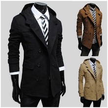 Fashion double-breasted design of cultivate one's morality even cap long pure color trench coat(China (Mainland))