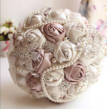 In magazzino splendida in rilievo di cristallo wedding bouquet artificial sapphire avorio rosa damigella d'onore della perla del fiore bouquet da sposa(China (Mainland))
