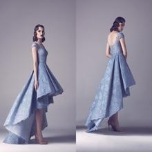 2016 Famous Designer Arabic Fashion High Low Prom Dresses Lace Cap Sleeve Boat Neck Modest Vestido de Festa Longo  HY087(China (Mainland))