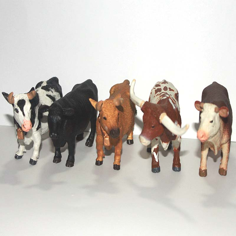 solid eco-friendly plastic animal model toy figure 5pcs/set Cows Bulls figure(China (Mainland))