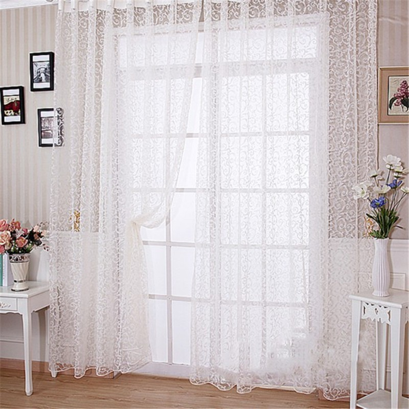 Hot Sales Home Room Floral Tulle Curtain Window Door Balcony Lifting Sheer Valance Scarf Curtains