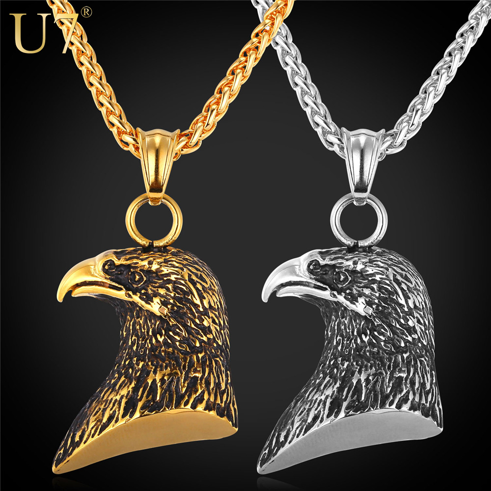 U7 Stainless Steel Eagle Necklace Women Statement 18K Gold Plated Animal Charm Pendant Necklace For Men Jewelry Wholesale P737(China (Mainland))