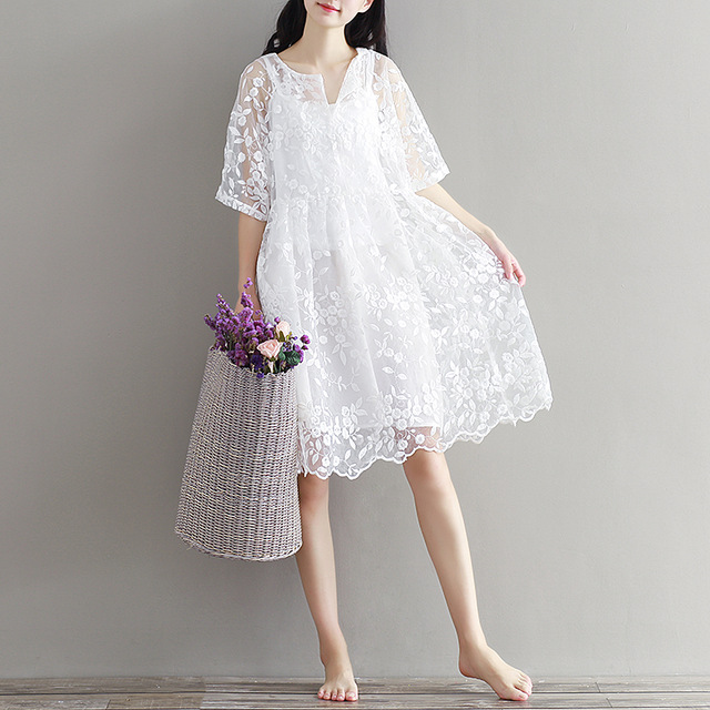 2017 New Style Women Summer Two Pieces Dresses Preppy Cute White Half Sleeve Embroidery Plus Size Lace Dresses