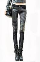 Big yard stretch pants pants and feet bootcut PU stitching leather pants tight jeans women. Free shipping