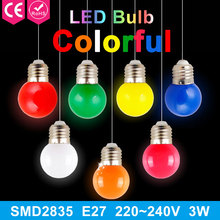 Buy 1pcs 220V Home Lighting Colorful Led Bulb Ampoule E27 3W Energy Saving Light Red Orange Yellow Green Blue Milk Pink Lamp Smd2835 for $1.02 in AliExpress store