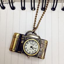 Fashion Unisex Watches Antique Bronze Camera Design Pendant Pocket Watch Necklace Gift wholesale(China (Mainland))
