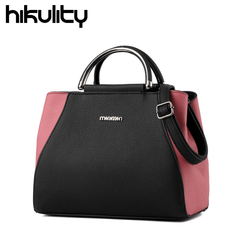HIKULITY 2016 Famous Brand Large Capacity Women Satchels Leather Handbags Lady OL Patchwork Messenger Shoulder Bags Sac A Main<br><br>Aliexpress