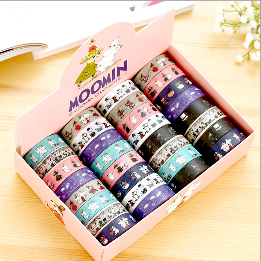 32 pcs/Lot Cartoon characters paper tape Moomin masking tape Deco adhesive DIY scrapbook Stationery material escolar<br><br>Aliexpress