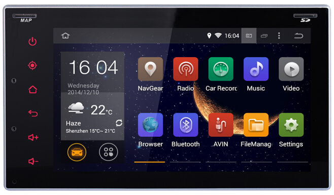 Hot Sale 6.2 inch android 4.4 GPS navigation DVD player for Universal Car with Two USB Interfaces Camera Video Input(China (Mainland))