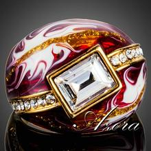 AZORA 18K Real Gold Plated Clear Rectangle Stellux Austrian Crystal Red Oil Painting Pattern Ring for Women TR0151(China (Mainland))