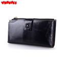 YMWEI 100 Genuine Cow Leather long pattern design large capacity women s wallet Female Wallets with