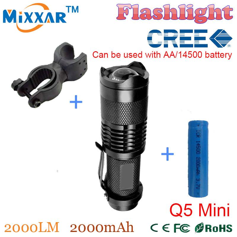 ZK50 cree q5 mini 2000LM bike led flashlight zoomable lamp bicycle front torch + bike holder+1*14500 2000mAh Battery(China (Mainland))