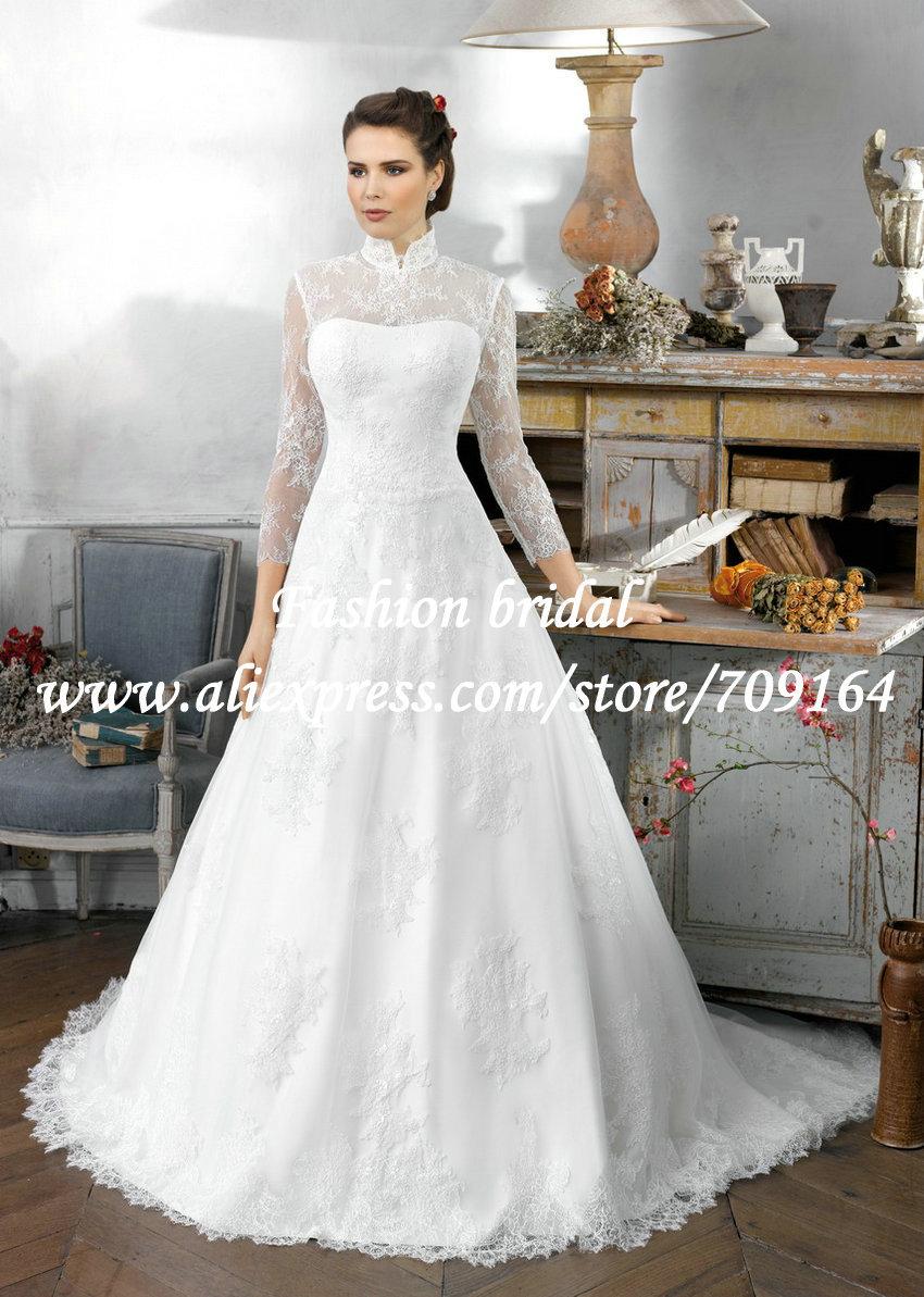 Modestos vestidos de novia de encaje con mangas