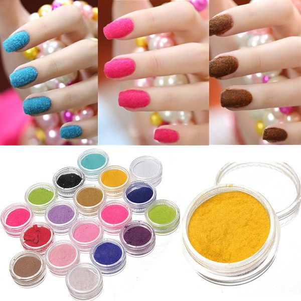 New Fashion 18 Pcs Velvet Flocking Dust Powder Set Nail Art Tip Design 3D Decoration Polish For Women Manicure Hot Selling(China (Mainland))