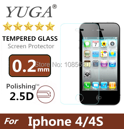 Top quality 0.2 mm Premium scratch-resistant Tempered Glass Film screen protector for iPhone 4 4S Free shipping(China (Mainland))