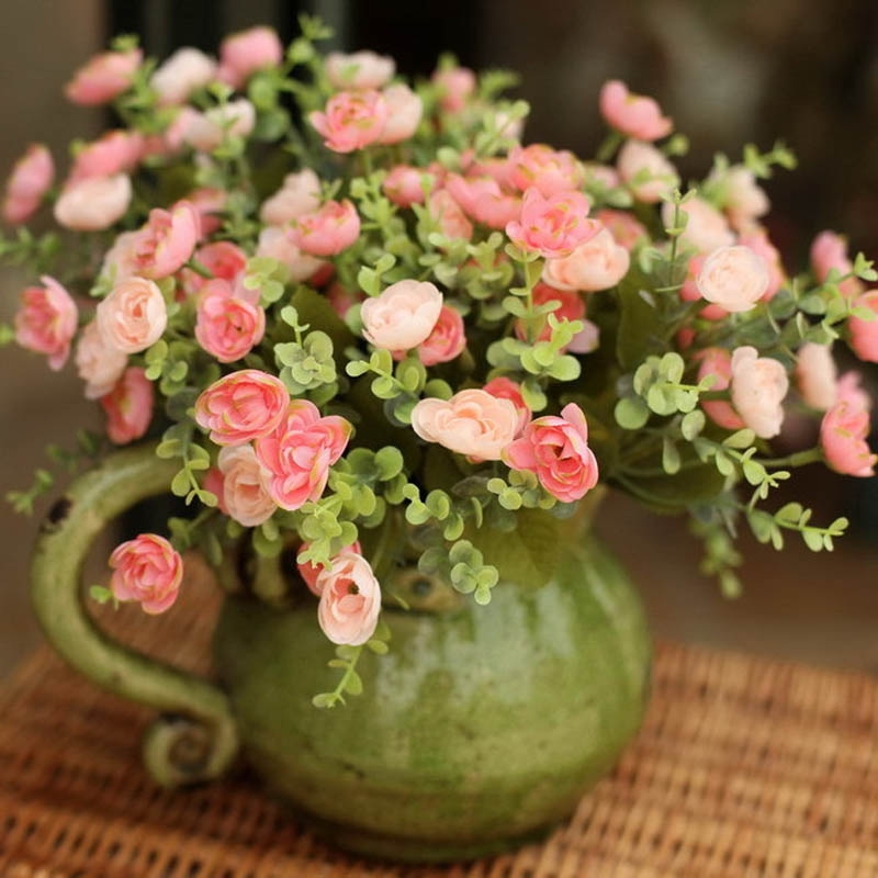 5pcs Fresh Pink Tea Rose High Artificial Flower Home Decoration Flower Fashion Dried Flowers
