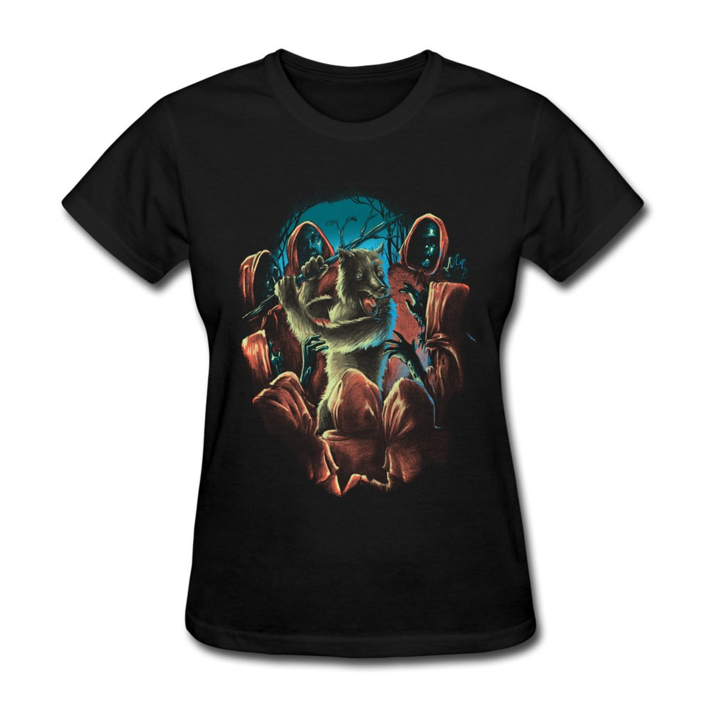 Custom gildan t shirt woman wolf nightmare funny shapes t for How to design and sell t shirts