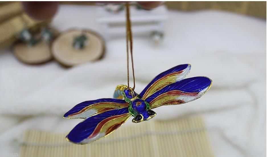 Wholesale 10PCS Chinese Handmade Cloisonne dragonfly Christmas Ornament for christmas or other festival decoration(China (Mainland))