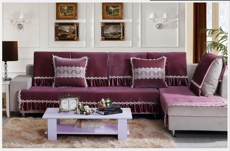 Europe style luxury anti slip cotton fabric sofa cushion for Slip sofa covers home style
