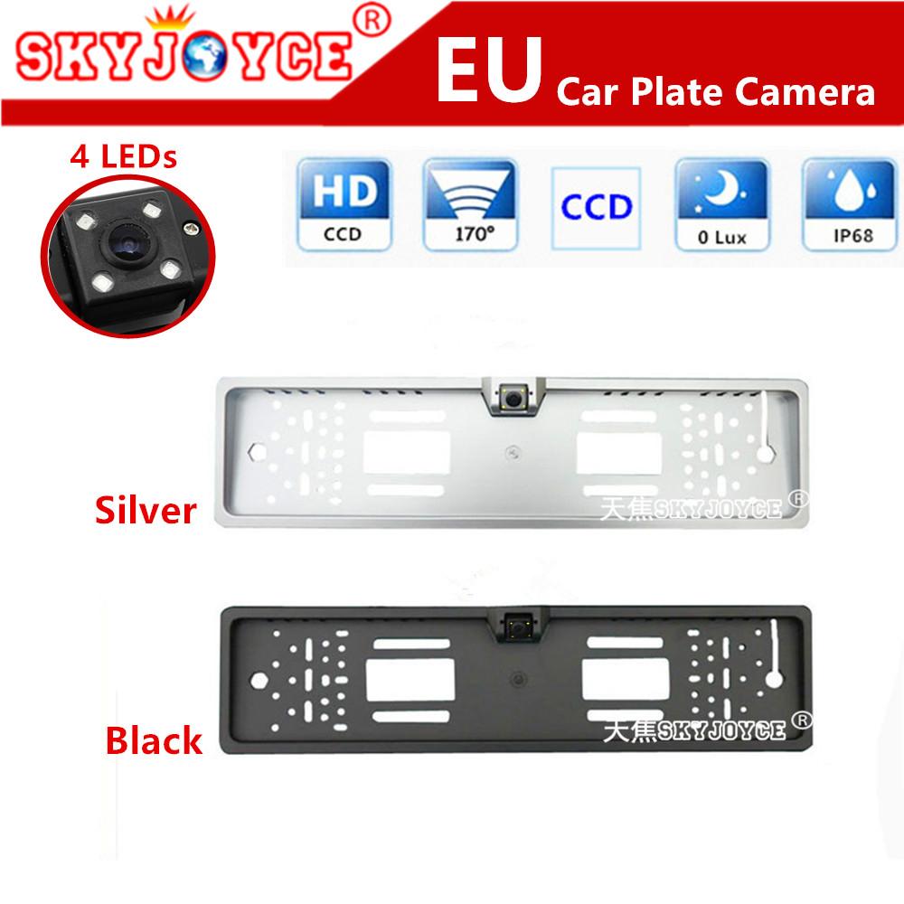 Freeshipping CCD HD rear view camera European license plate frame camera Light LED 170 backup parking rearview car camera(China (Mainland))