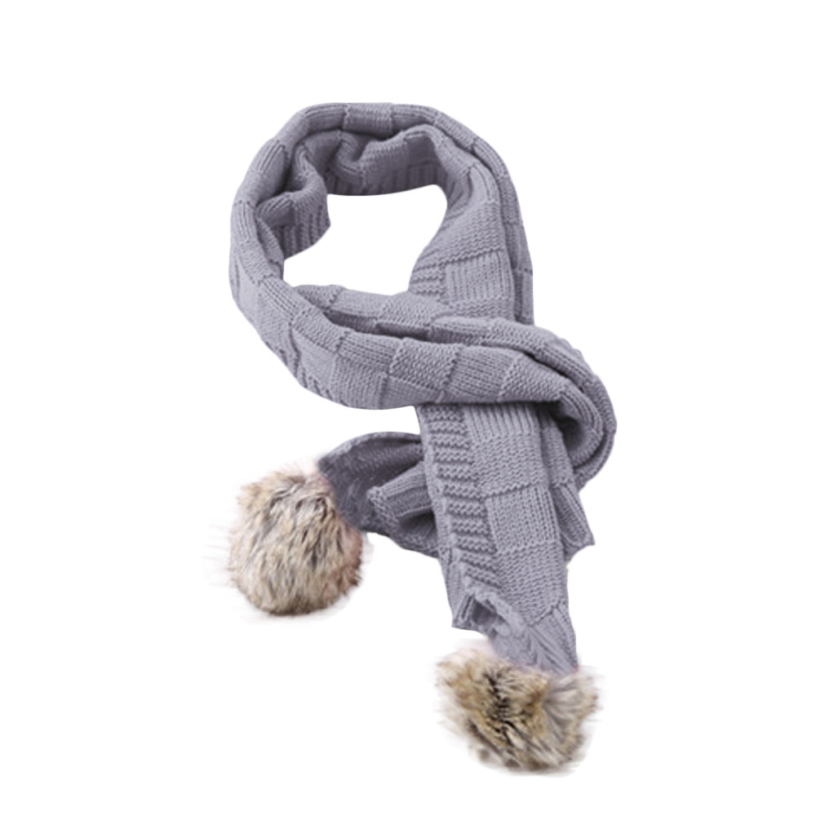 Best Deal New Fashion Kid Children Scarf Pure Colors Knit Woolen Baby Scarf Neck Neckerchief Warmer for 2-7 Years Old Gift 1PC(China (Mainland))